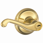 Schlage Lock F51VFLA505 Bright Brass Flair Lever Design Entry Lockset