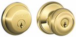 Schlage Lock FB50NVGEO505 Bright Brass Georgian Design Combination Keyed Entry Lockset and Deadbolt