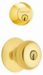 Schlage Lock FB52NVPLY505 Bright Brass Double Cylinder Deadbolt & Plymouth Knob Combo Pack