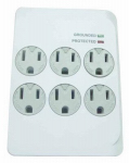 Kab Enterprise CT-044F-3 Outlet Surge Tap,1200 Joules, 6-Outlet, White Plastic