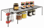 Rubbermaid 1J2700BLA Kitchen Helpers Shelf, Expandable, Black Wire, Large