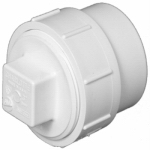 Charlotte Pipe & Foundry PVC 00105X 0800HA Plastic Pipe Fitting, DWV  Fitting Cleanout With Plug, PVC, 2-In.