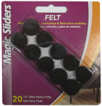 Magic Sliders L P 61215 Surface Protectors, Felt Pad, Self-Stick, Brown, 3/4-In., 20-Pk.