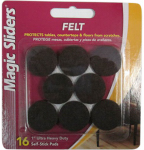 Magic Sliders L P 61414 Surface Protectors, Felt Pad, Self-Stick, Brown, 1-In. Round, 16-Pk.