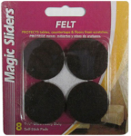 Magic Sliders L P 61712 Surface Protectors, Felt Pad, Self-Stick, Brown, 1-1/2-In. Round, 8-Pk.