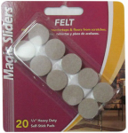Magic Sliders L P 63215 Surface Protectors, Felt Pad, Self-Stick, Oatmeal, 3/4-In. Round, 20-Pk.