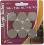 Magic Sliders L P 63414 Surface Protectors, Felt Pad, Self-Stick, Oatmeal, 1-In. Round, 16-Pk.