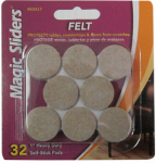 Magic Sliders L P 63417 Surface Protectors, Felt Pad, Self-Stick, Oatmeal, 1-In. Round, 32-Pk.