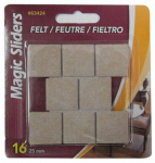 Magic Sliders L P 63424A Surface Protectors, Felt Pad, Self-Stick, Oatmeal, 1-In. Square, 16-Pk.