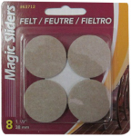 Magic Sliders L P 63712 Surface Protectors, Felt Pad, Self-Stick, Oatmeal, 1-1/2-In. Round, 8-Pk.
