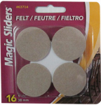 Magic Sliders L P 63714 Surface Protectors, Felt Pad, Self-Stick, Oatmeal, 1-1/2-In. Round, 16-Pk.