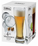 Libbey Glass 1604S4 Pilsner Beer Glass Barware, 4-Pc. Set