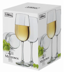 Libbey Glass 7504S4 White Wine Glass Barware, 4-Pc. Set