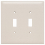 Pass & Seymour TPJ2LACC10 Legrand Two Toggle Switch Opening Nylon Wall Plate, Two Gang, Almond