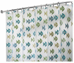 Interdesign 27780 Shower Curtain, Blue/Green Fish, Clear, 72 x 72-In.