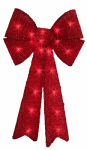 Impact Innovation-Import 67379 Pre Lit Red Tinsel Bow, 12 x 24-In.