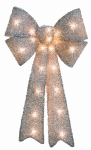 Impact Innovation-Import 67380 Pre Lit Silver Tinsel Bow, 12 x 24-In.