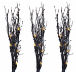 Noma/Inliten-Import V37014 Halloween Light Twigs, Orange/Black Glitter, 3-Pc.