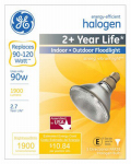 G E Lighting 62716 Halogen Flood Light Bulb, Indoor/Outdoor, PAR38, 90-Watt