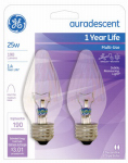 G E Lighting 75340 Auradescent Light Bulb, Flame, 25-Watt, 2-Pk.