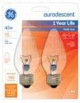 G E Lighting 75343 Light Bulb, Flame Shape, Blunt-Tip, 40-Watt, 2-Pk.