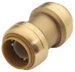 Sharkbite/Cash Acme U006LFA Straight Pipe Coupling, Push Fit, 3/8 x 3/8-In.