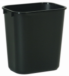 Rubbermaid Comm Prod 2956-00-BLA Office Wastebasket, Black, Rectangle, 28-1/8-Qts.