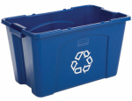 Rubbermaid Comm Prod 5718-73-BLUE Recycling Box, 18-Gals.