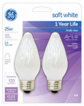 G E Lighting 75338 Decorative Light Bulb, Flame Shape, White, 25-Watt, 2-Pk.