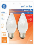G E Lighting 75342 Decorative Light Bulb, Flame Shape, White, 40-Watt, 2-Pk.