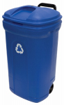 United Solutions TB0056 Recycling Trash Can With Wheels, Blue, 34-Gals.