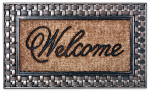 Bacova Guild 17851 Doormat, Outdoor, Welcome Pattern, Natural Coir With Rubber Border, 18 x 30-In.
