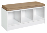 Closetmaid 156900 3-Cube Storage Bench, White With Mocha Cushion