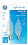 G E Lighting 66107 Candelabra Light Bulb, Bent-Tip, Clear, 60-Watt, 2-Pk.