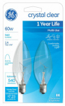 G E Lighting 76229 Candelabra Light Bulb, Blunt Tip, Clear, 60-Watt, 2-Pk.