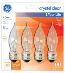 G E Lighting 76230 Candelabra Light Bulb, Bent-Tip, Clear, 40-Watt, 4-Pk.