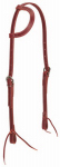 Weaver Leather 10-0093 Horse Headstall, Double Cheek Adjustment, Burgundy Latigo Leather, Tie Ends, 5/8-In.