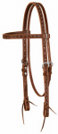 Weaver Leather 10-0276 Horse Headstall, Straight Browband, Brown Oiled Leather, Tie Ends, 3/4-In.