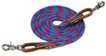 Weaver Leather 35-2027-B16 Horse Roper Rein, Blue/Pink Poly With Leather Loops, 3/8-In. x 8-Ft.