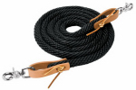 Weaver Leather 35-2026-S1 Horse Roper Rein, Black Poly With Leather Loops, 5/8-In. x 8-Ft.
