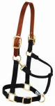 Weaver Leather 35-6026-BK Horse Halter, Breakaway, Black Nylon/Leather, 1-In., Large/ 2-Year Draft