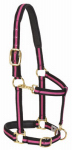 Weaver Leather 35-7735-PK Horse Halter, Snap, Padded, Black/Pink Stripe Poly, 1-In., Average/Weanling Draft