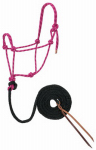 Weaver Leather 35-7800-R12 Horse Halter, Hand-Knotted, Raspberry/Black/White Rope, 1/2-In. x 10-Ft.