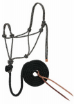 Weaver Leather 35-7800-R9 Horse Halter, Hand-Knotted, Black/Tan/White Rope, 1/2-In. x 10-Ft.