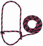 Weaver Leather 35-7901-PK/BK Cattle Halter, Pink/Black Poly Rope, 7-Ft.