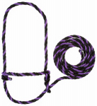 Weaver Leather 35-7901-PU/BK Cattle Halter, Purple/Black Poly Rope, 7-Ft.