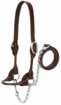 Weaver Leather 90-0671 4-H Cattle Show Halter, Brown Bridle Leather, Medium, 20-In. Chain x 36-In. Lead