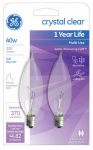 G E Lighting 76236 Candelabra Light Bulb, Bent-Tip, Clear, 40-Watt, 2-Pk.