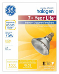 G E Lighting 62231 Halogen Bulb, Crisp White, 75-Watt