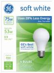 G E Lighting 66248 A-Line Halogen Light Bulb, Soft White, 53-Watt, 4-Pk.